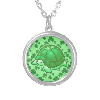 Lucky Green Clover Turtles Round Pendant Necklace