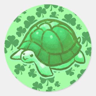 Lucky Green Clover Turtles Round Sticker