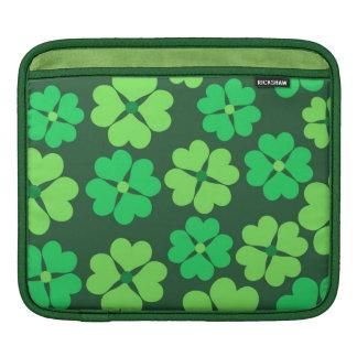 Lucky green clovers iPad sleeves