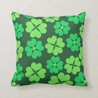 Lucky green clovers throw pillows