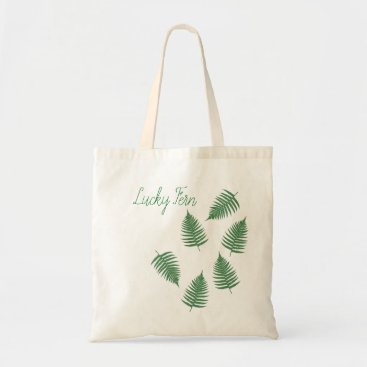 loscrazyavocados Lucky Green Fern Pattern Tote Bag
