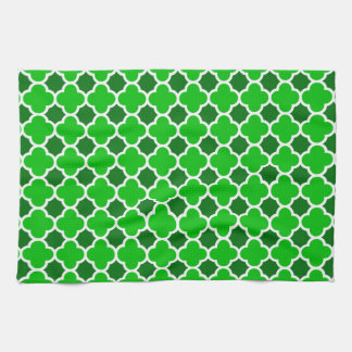 Lucky  Green Four Leaf Quatrefoil Pattern Kitchen Towels