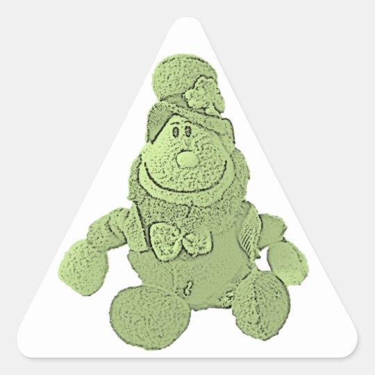 Lucky Green Leprechaun Triangle Sticker