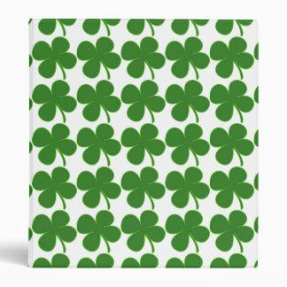 Lucky Green Shamrock 3 Ring Binder