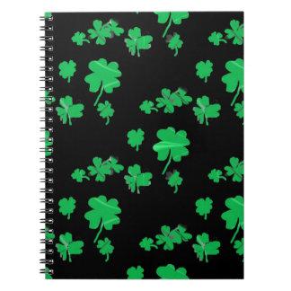 Lucky Green Shamrock Four Leaf Clover irish Note Books