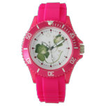 LUCKY GREEN SHAMROCK LADIES WITH HEARTS WRISTWATCH