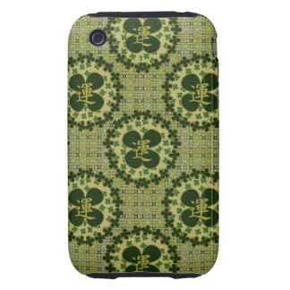 Lucky Green Shamrock Pattern Tough iPhone 3 Covers