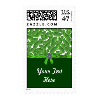 Lucky green shamrock pattern stamp