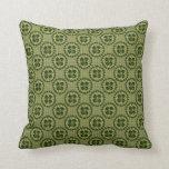 Lucky Green Shamrock Pattern Throw Pillow