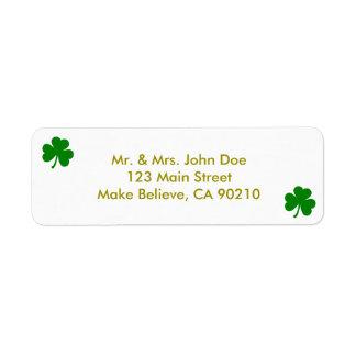 Lucky Green St Patrick's Day Irish Shamrock Label