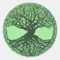 Lucky Green Tree of Life Classic Round Sticker (<em>$4.95</em>)