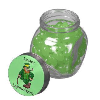 Lucky Happy Irish Leprechaun Mini Glass Candy Jar