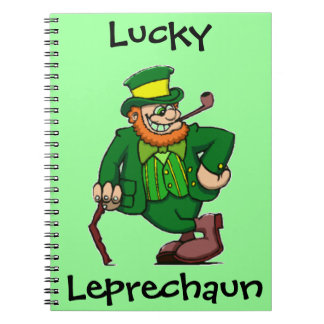 Lucky Happy Irish Leprechaun Spiral Notebook