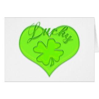 Lucky Heart Four Leaf Clover Shamrock Greeting Cards