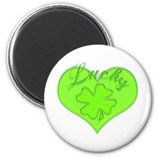 Lucky Heart Four Leaf Clover Shamrock Magnet