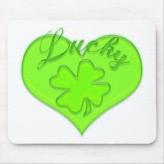 Lucky Heart Four Leaf Clover Shamrock Mousepads