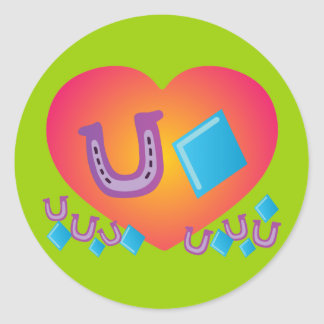 Lucky Heart Round Stickers