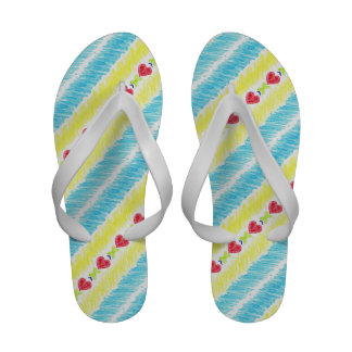 Lucky Hearts Child Art Red Blue Abstract Flip-Flops