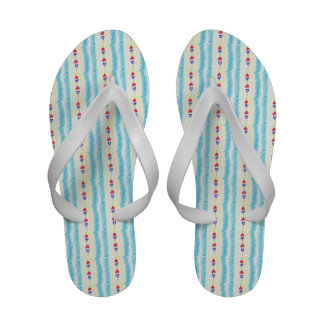 Lucky Hearts Child Art Red Blue Abstract Flip Flops