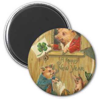lucky horse shoe and pigs fridge magnets