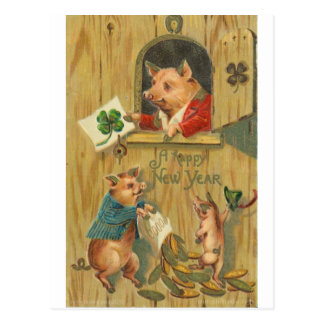 lucky horse shoe and pigs postcard