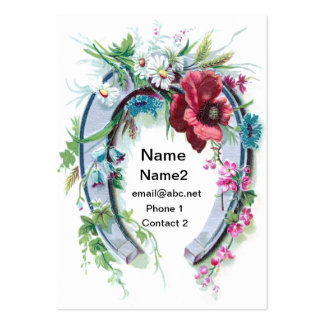 Lucky Horseshoe and Poppy Large Business Cards (Pack Of 100)