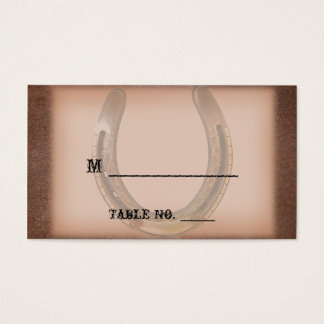 Lucky Horseshoe Brown Leather Wedding Place Cards