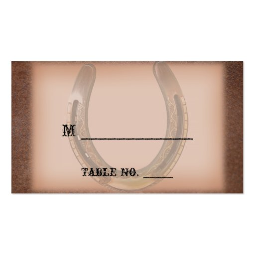 Lucky Horseshoe Brown Leather Wedding Place Cards Business Card Template