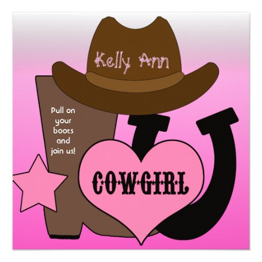 personalized cowgirl birthday invitations | custominvitations4u, Birthday invitations