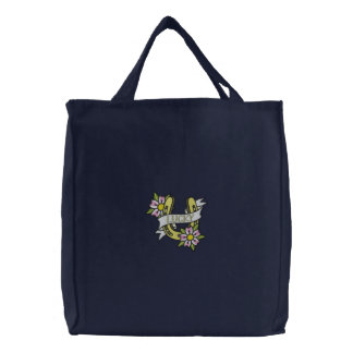 Lucky horseshoe floral embroidered tote bag