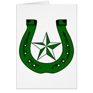 lucky horseshoe. green stars. card