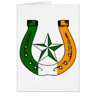 lucky horseshoe. irish stars. card