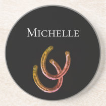 Lucky Horseshoe Monogram Rustic Black Coaster