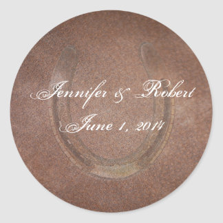 Lucky Horseshoe on Brown Leather Envelope Seal Classic Round Sticker