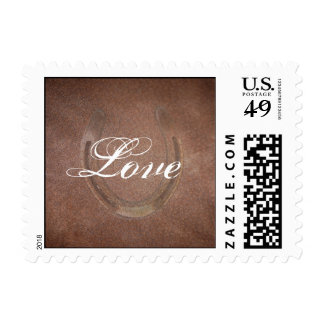 Lucky Horseshoe on Brown Leather Postage Stamp