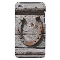 Lucky Horseshoe On Wooden Fence Ipod Touch 4g Case at Zazzle