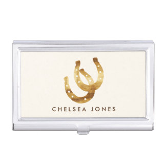 Horseshoe business card holders cases zazzle lucky horseshoes personalized case for business cards colourmoves