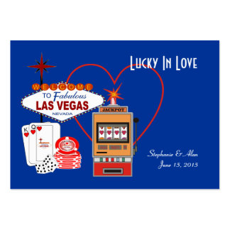 Lucky in Love Blue Place Cards Business Card Template