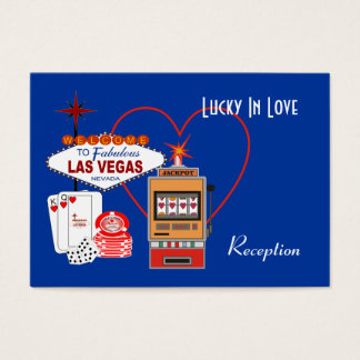 Lucky in Love Blue Reception Cards