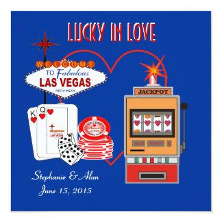 Lucky in Love Blue Wedding Invitation