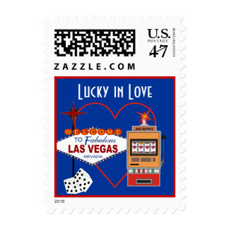 Lucky In Love Blue Wedding Postage
