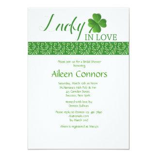 "Lucky in Love Bridal Shower Invitation 5"" X 7"" Invitation Card"