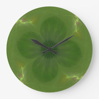 Lucky in Love Clover & Hearts Fractal Large Clock