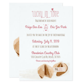 Lucky in Love Fortune cookies Wedding Invitation