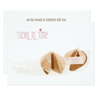 Lucky in Love Fortune cookies Wedding RSVP card