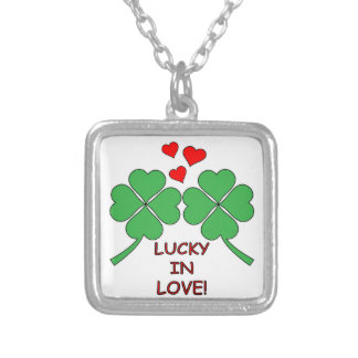 Lucky In Love Hearts Clover Silver Plated Necklace