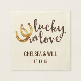 Lucky in Love Horseshoe Personalized Napkin