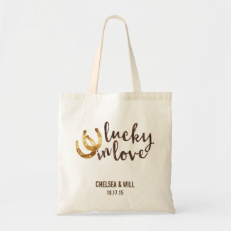 Lucky in Love Horseshoe Wedding Favor Budget Tote Bag