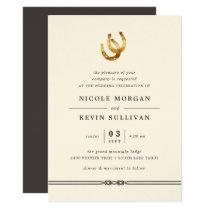 Lucky in Love | Horseshoe Wedding Invitation