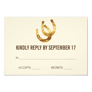 Lucky in Love Horseshoe Wedding RSVP Response Card